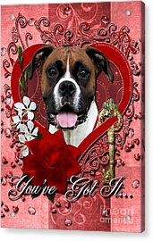 Valentines - Key To My Heart Boxer Acrylic Print by Renae Laughner