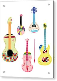 Various Kinds Of Stringed Instruments Acrylic Print by Eastnine Inc.