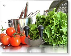 Vegetables With Kitchen Pots And Utensils On White  Acrylic Print by Sandra Cunningham