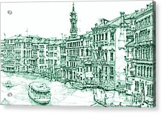 Venice Drawing In Green Acrylic Print by Building  Art
