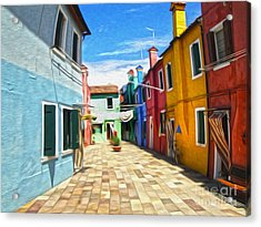 Venice Italy - Burano Island Alley Acrylic Print by Gregory Dyer