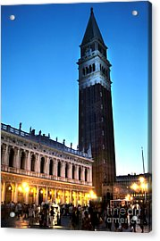 Venice Italy - Saint Marks Campanile At Night Acrylic Print by Gregory Dyer