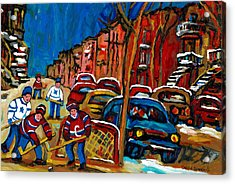 Verdun Rowhouses With Hockey - Paintings Of Verdun Montreal Street Scenes In Winter Acrylic Print by Carole Spandau