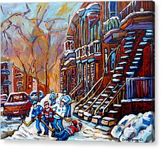 Verdun Street Scene Hockey Game Near Winding Staircases Vintage Montreal City Scene Acrylic Print by Carole Spandau