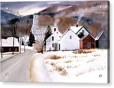 Vermont Winter Village Acrylic Print by Karol Wyckoff