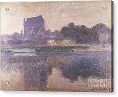 Vernon Church In Fog Acrylic Print by Claude Monet