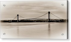Verrazano-narrows Bridge B-w Acrylic Print by David Hahn