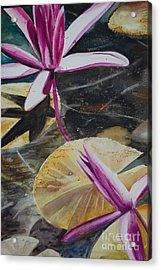 Vietnam Temple Waterlilies Acrylic Print by Alla Dickson