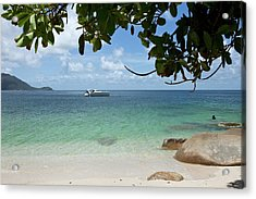 View From A Beach Of A Speedboat In The Sea Acrylic Print by Caspar Benson