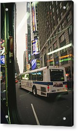 View Of A New York City Bus Acrylic Print by Gina Martin