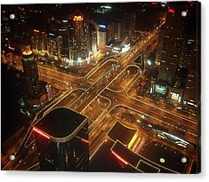 View Of Cityscape At Night Acrylic Print by Philip M Walker