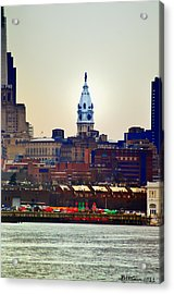 View Of Philadelphia City Hall From Camden Acrylic Print by Bill Cannon