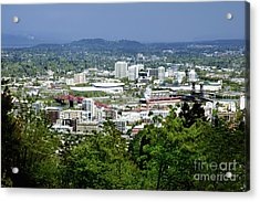 View Of Portland Oregon From Pittock Mansion  Acrylic Print by Sherry  Curry