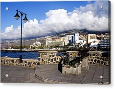 View Of Puerto De La Cruz From Plaza De Europa Acrylic Print by Fabrizio Troiani