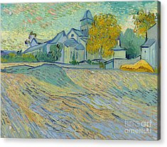 View Of The Asylum And Chapel At Saint Remy Acrylic Print by Vincent Van Gogh
