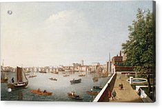 View Of The River Thames From The Adelphi Terrace  Acrylic Print by William James