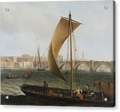 View On The Thames With Westminster Bridge Acrylic Print by Samuel Scott