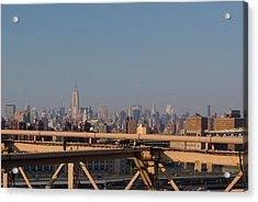 View Over New York City From Brooklyn Bridge Acrylic Print by Thepurpledoor