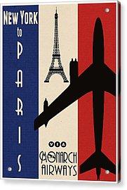 Vintage Air Travel Paris Acrylic Print by Cinema Photography