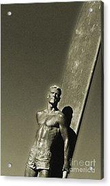 Vintage Bronze Surfer Acrylic Print by Paul Topp