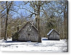 Vintage Buildings In The Winter Snow Acrylic Print by Susan Leggett