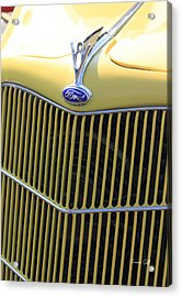 Vintage Ford V8 Grill Acrylic Print by Suzanne Gaff