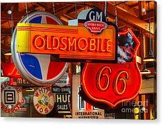 Vintage Neon Sign Oldsmobile Acrylic Print by Bob Christopher