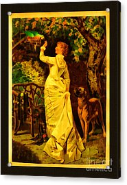 Vintage Reproduction Of Woman Feeding Parrot Acrylic Print by Anne Kitzman