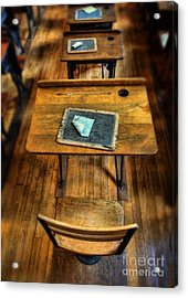 Vintage School Desks Acrylic Print by Jill Battaglia