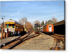 Vintage Trains At The Old Sacramento Train Depot . 7d11513 Acrylic Print by Wingsdomain Art and Photography