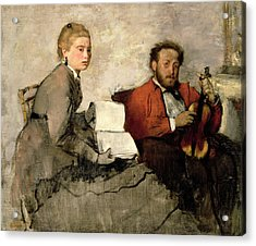 Violinist And Young Woman Acrylic Print by Edgar Degas