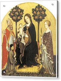 Virgin And Child Enthroned Acrylic Print by Gentile Da Fabriano