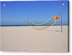 Volleyball Net On Beach Acrylic Print by Leuntje