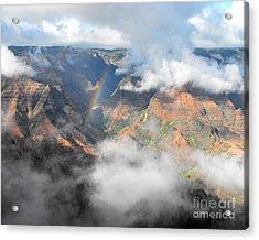 Waimea Canyon Rainbow Acrylic Print by Rebecca Margraf