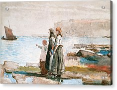 Waiting For The Return Of The Fishing Fleets Acrylic Print by Winslow Homer