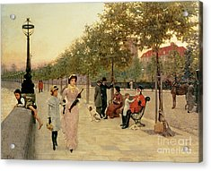 Walk Along The Embankment At Chelsea Acrylic Print by Frederick Brown