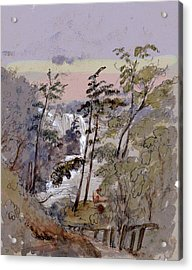 Walk To The Falls Acrylic Print by Charles Shoup