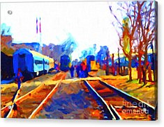 Walking On The Train Tracks In Old Sacramento California . Painterly . Vision 2 Acrylic Print by Wingsdomain Art and Photography