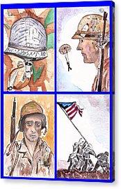 War Watercolor Collage Acrylic Print by Myrna Migala