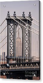 Washington Bridge And Empire State Building Acrylic Print by Holger Ostwald