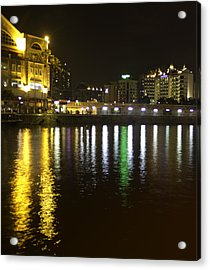 Water And Lights At Clarke Quay In Singapore Acrylic Print by Ashish Agarwal