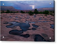 Water Puddled In The Esplanade, A Rock Acrylic Print by Michael Nichols