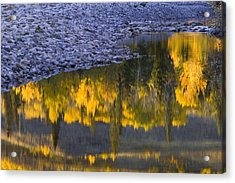 Water Reflections With A Rocky Shoreline Acrylic Print by Carson Ganci