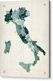 Watercolor Map Of Italy Acrylic Print by Michael Tompsett