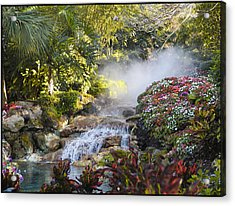 Waterfall In The Mist Acrylic Print by Barbara Middleton