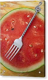 Watermelon And Fork Acrylic Print by Garry Gay