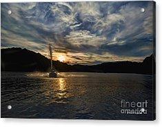 Wave Runner On Lake Evening Acrylic Print by Dan Friend