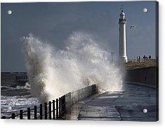 Waves Crashing By Lighthouse At Acrylic Print by John Short