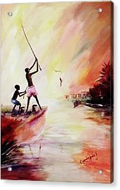 We Fished Acrylic Print by Oyoroko Ken ochuko