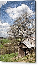 Weathered Hillside Barn Spring Acrylic Print by John Stephens